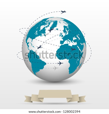 Planes flying around the globe. Vector EPS10 stock photo