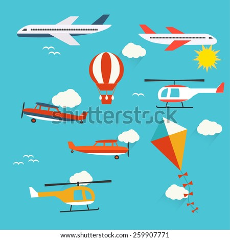 Planes, helicopters,  hot air balloon and kite, vector illustration. Colored aircrafts, helicopters, vector icons. Set of kite, aircraft,  and helicopter signs. Civilian aircraft illustration