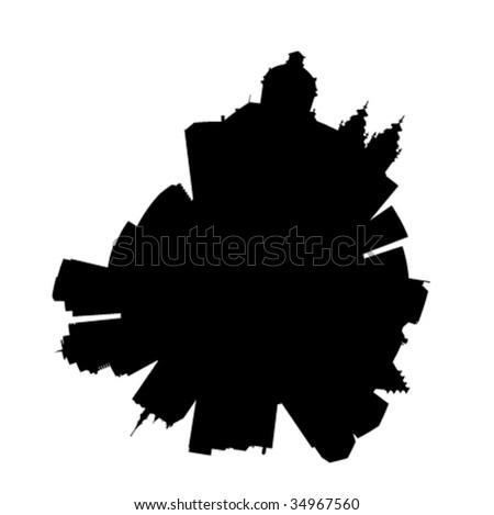 Planet Amsterdam: round vector Amsterdam silhouette skyline - stock vector