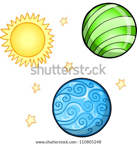 planet and sun set vector
