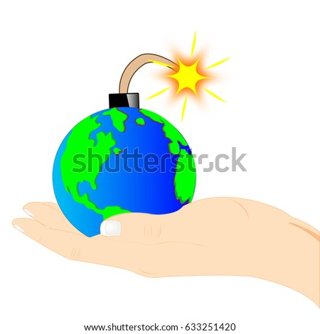 planet bomb on palm of the