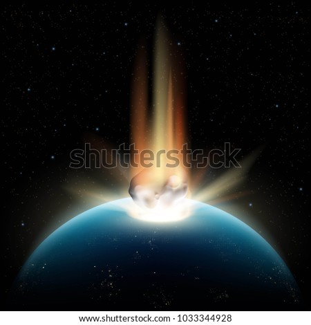 planet earth and asteroid in
