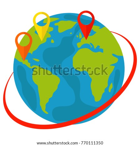 Planet Earth and map pins icon. Locations of locations on the planet Earth. Flat design, vector illustration, vector.