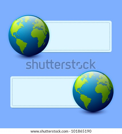 Planet Earth banners isolated on light blue background