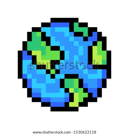 planet earth  8 bit pixel art