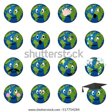 planet earth emoticons  emoji