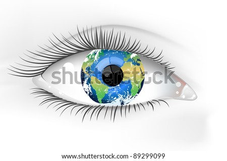 planet earth eye vector