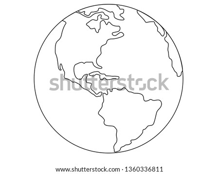 Planet Earth, globe vector linear picture. Outline. North and South America. Central America. The Atlantic Ocean and the Pacific Ocean. For coloring.