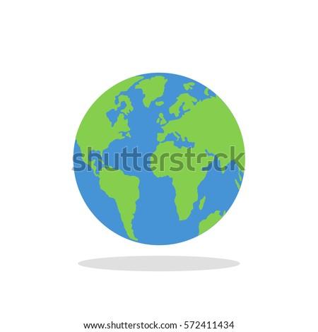 planet earth icon flat planet