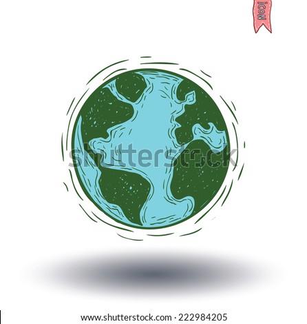 planet earth icon  hand drawn