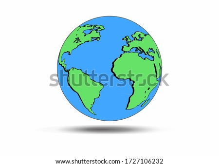 Planet Earth Icons. Flat planet Earth icon. Vector illustration of earth. Vector illustration of an isolated world on a gradient background. Beautiful earth illustration. World map
