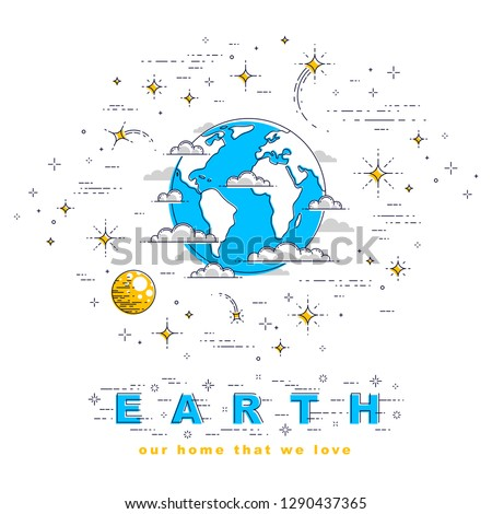 Planet Earth in space surrounded by stars, comets, asteroids and other elements. Small earth in endless cosmos. Thin line 3d vector illustration isolated on white.
