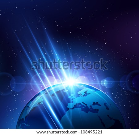 planet earth in the bright rays