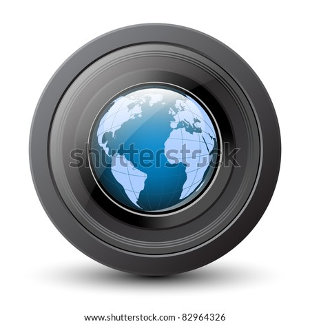 Planet earth in the camera lens. Vector conceptual icon