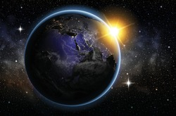 Planet earth in the night sky and the rising sun. Highly realistic illustration.