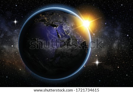 planet earth in the night sky