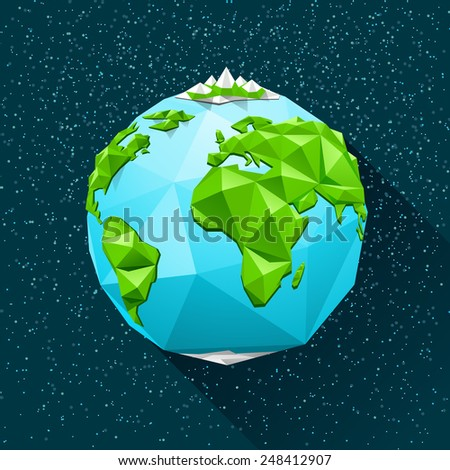 planet earth low poly vector