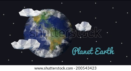 Planet Earth, space view, geometric polygonal triangle style.  Banner. Vector illustration