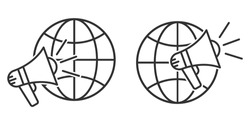 Planet Earth symbol with megaphone icon. Set of linear globe icons. Vector illustration. Speaker icon with globe Earth symbol
