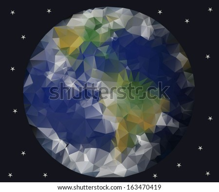 planet earth view from space, geometric triangle style vector