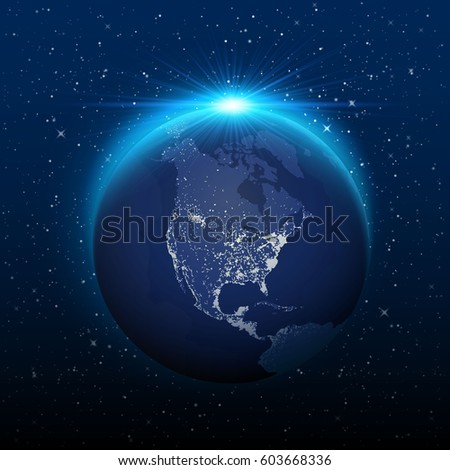 Shutterstock Planet earth view from space to nocturnal america. Vector illustration
