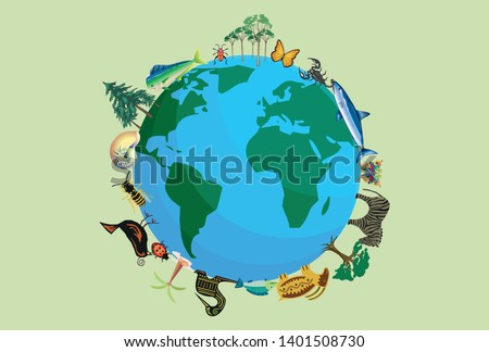 Planet earth with animals and plants for biodiversity.