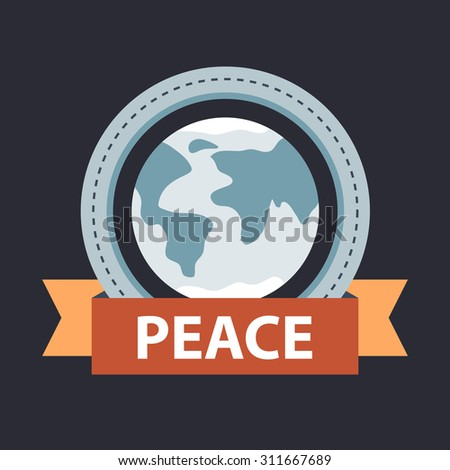 planet earth with ribbon banner