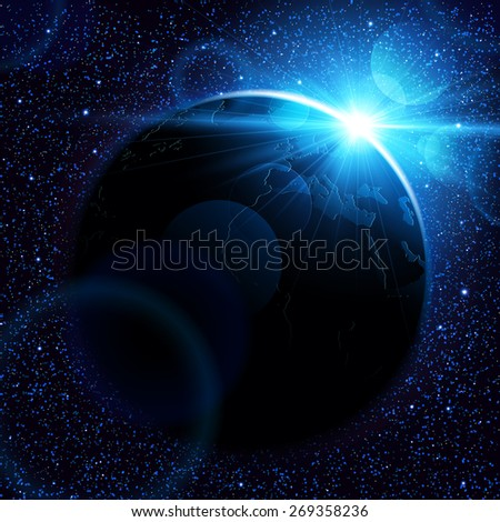 planet earth with sunrise in