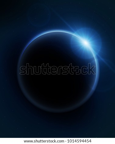 Planet earth with sunrise. vector illustration