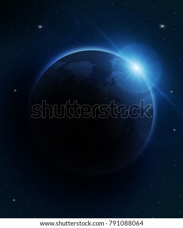 planet earth with sunrise