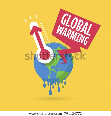 Planet earth with thermometer, Global warming concept. vector