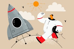 Planet exploration and Astronomy concept. Smiling young man Astronaut cartoon character in white suit entering spaceship to take off walking into rocket ready for launching vector illustration