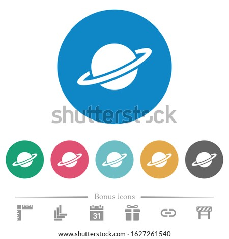 planet flat white icons on