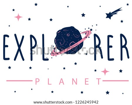 planet galaxy star moon tee