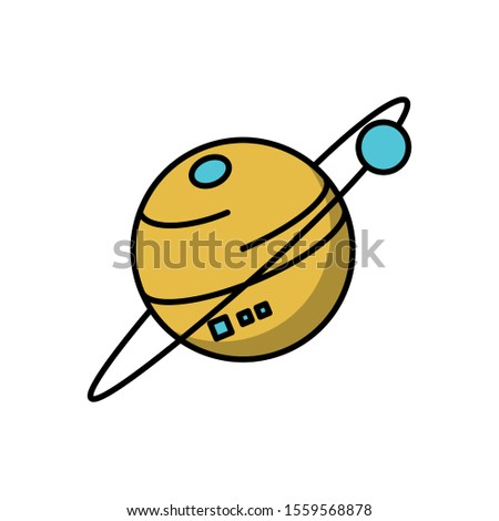Planet icon design, Solar system space orbit galaxy universe and science theme Vector illustration