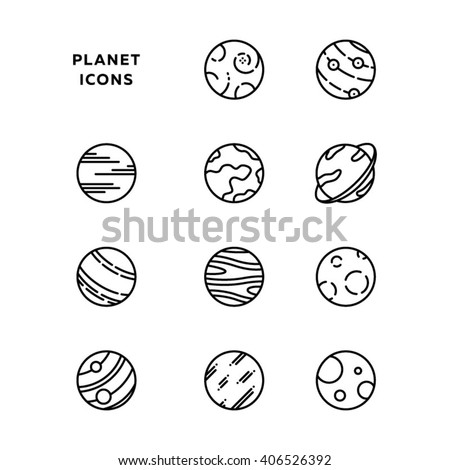 Planet icon set, outlines, in black