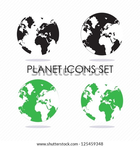 Planet icons silhouettes, black and green. Vector illustration