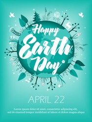 Planet in green leaves wreath. April 22 banner. Happy Earth Day card design. Vector illustration