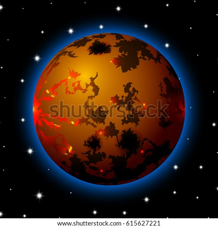 planet in space with stars