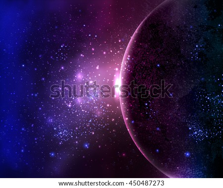 planet in the night sky space