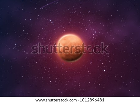 Planet mars on background of space with bright stars.
