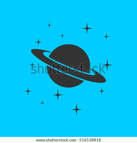 planet saturn icon flat simple