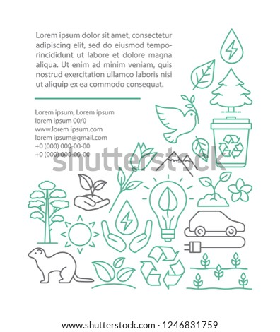 Planet saving article page vector template. Nature protection. Ecology. Earth day. Brochure, magazine, booklet design with linear icons and text boxes. Concept illustrations with text space