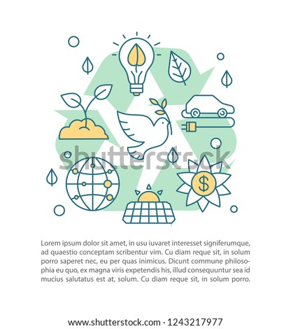 Planet saving concept linear illustration. Nature protection. Ecology. Article, brochure, magazine page layout. Earth day. Environment protection. Text box. Print design. Vector isolated drawing