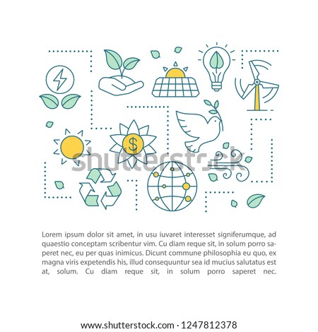 Planet saving concept linear illustration. Nature protection. Ecology. Article, brochure, magazine page layout. Earth day. Environment protection. Icons with text boxes. Vector isolated drawing