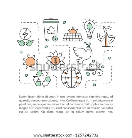 Planet saving concept linear illustration. Nature protection. Ecology. Article, brochure, magazine page layout. Earth day. Environment protection. Icons with text box. Vector isolated drawing