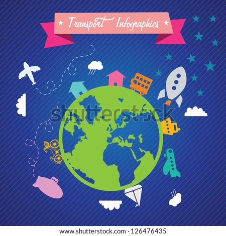Planet surrounded by various means of transport. On blue background