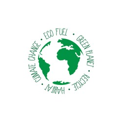 Planet symbol with text. Ecological gasoline, green planet, recycling, habitat and climate change. Ecology image.