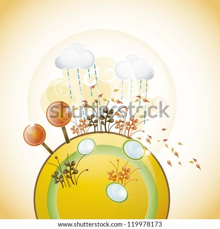 planet with autumn landscape, all the seasons vector illustration