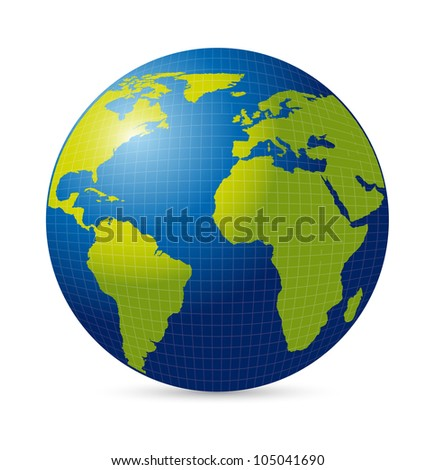 planet with shadow over white background. vector illustration